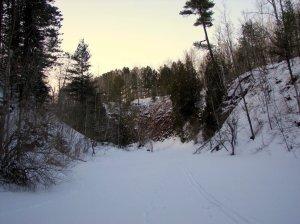 Skiing Along Amity Creek